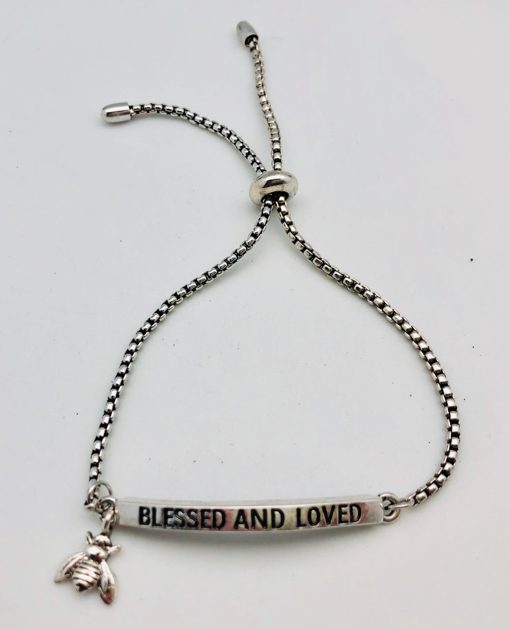 Bee Blessed and Loved Adjustable Affirmation ID Bracelet