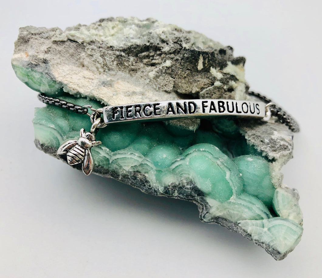 Bee Fierce and Fabulous Adjustable Affirmation ID Bracelet