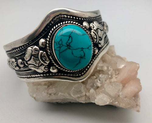 Modern Tibet Nepali Silver Cuff Bracelet with Turquoise Cabochon -Communication and Fortune