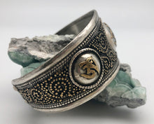 Modern Tibet Nepali Silver and Brass Cuff Bracelet with Filigree Om Symbols