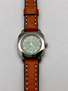 Peyote Bird Small Turquoise Face Watch with Natural Overstitched Band