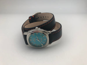 Peyote Bird Turquoise Face Watch with Dark Brown Double Wrap Leather Band