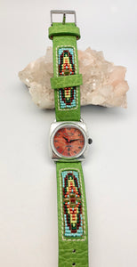 Peyote Bird Coral Face Watch with Chili Rose Green Native Beaded Band