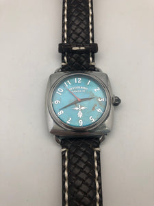 Peyote Bird Large Turquoise Face Watch with Dark Brown Leather Overstitched Band