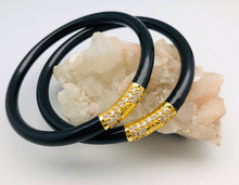 BuDhaGirl Black and Gold All Weather Buddhist Prayer Bangle Bracelet