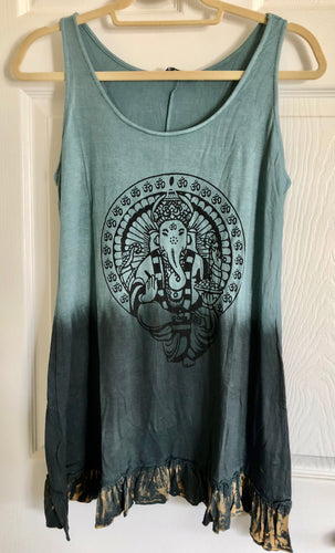 Yak & Yeti Gray Blue Dip Dye Ganesh Print Sleeveless Tunic Shirt with Ruffle Trim