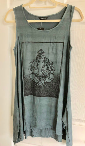 Yak & Yeti Gray Gray Seated Ganesh Print Sleeveless Tunic Shirt