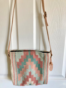 Mexican Wool Primavera Pyramid Pastel Handwoven Cross Body Bag