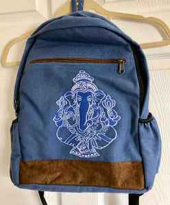 Embroidered White Ganesh on Blue Cotton Backpack from Nepal