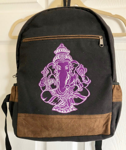 Embroidered Purple and White Ganesh on Black Cotton Backpack from Nepal