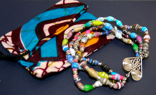 Acacia Creations Fair Trade African Healing Heart Recycled Paper Stretch Bracelet