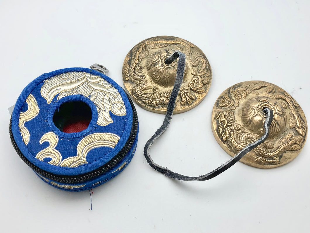 Nepali Bronze Small Tingsha Bells with Blue Silk Carrying Case