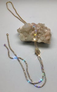 Brilliant Fortune Blingy Gold and Crystal Hamsa Slide Necklace