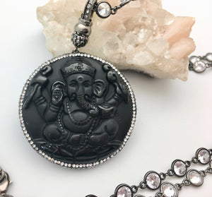Bhakti Panda Ganesha's Blessing Pendant Crystal Necklace