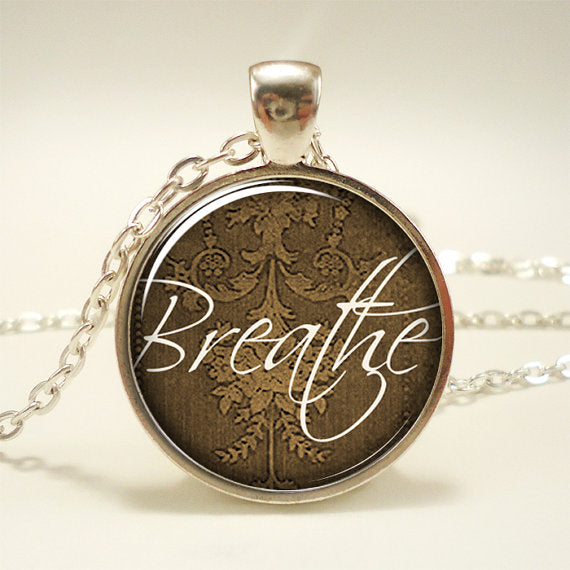 Serenity Breathe Pendant Under Glass on Chain Necklace