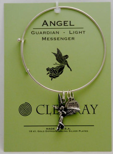 Clea Ray Silver Bangle Bracelets with Spiritual Symbol Charms