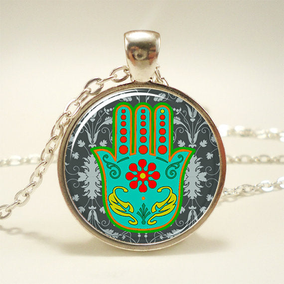 You Are Protected Hamsa Pendant Under Glass on Chain Necklace