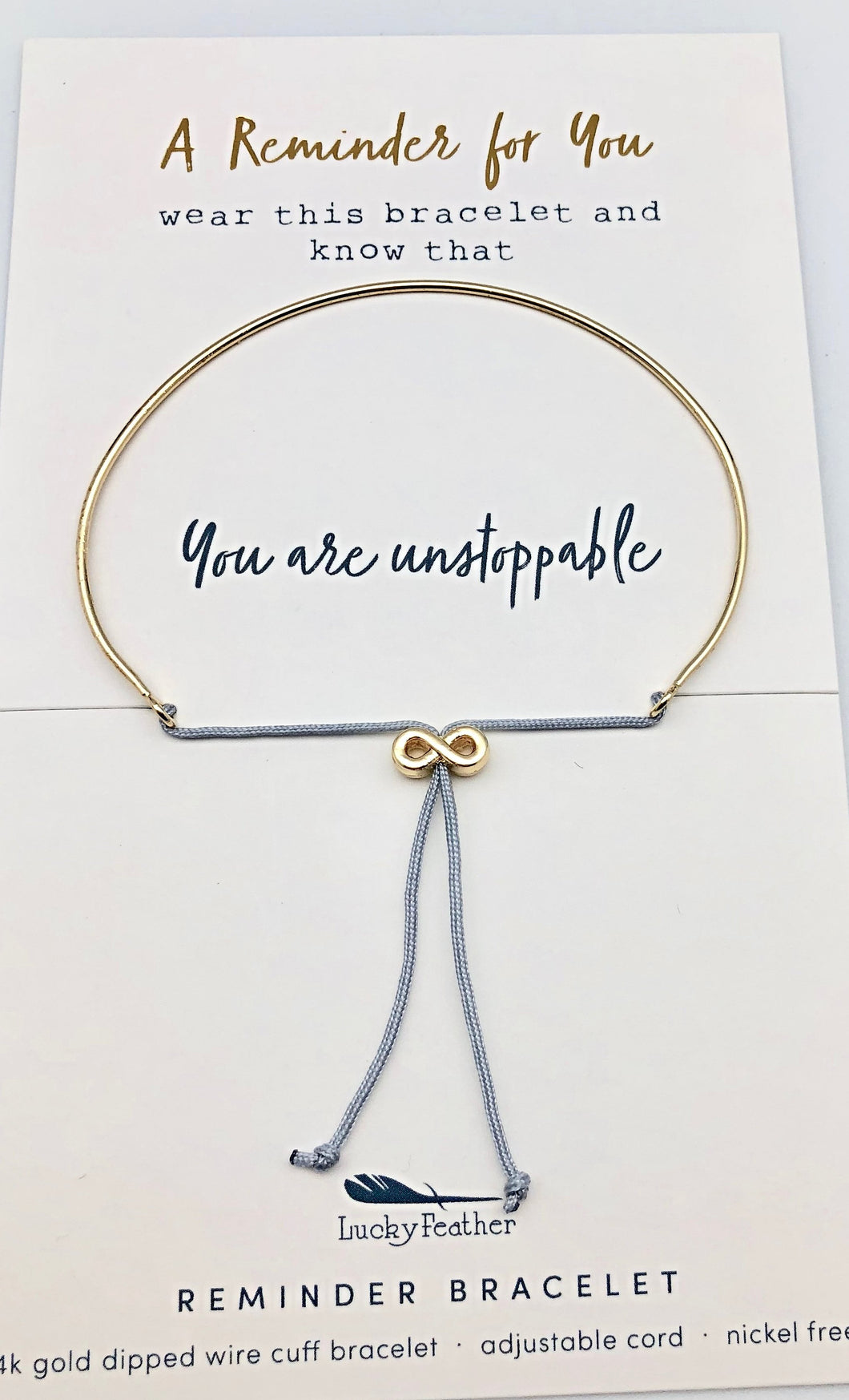 Lucky Feather Reminder Bracelet - You Are Unstoppable
