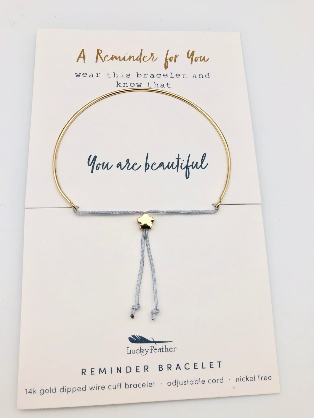 Lucky Feather Reminder Bracelet - You Are Beautiful