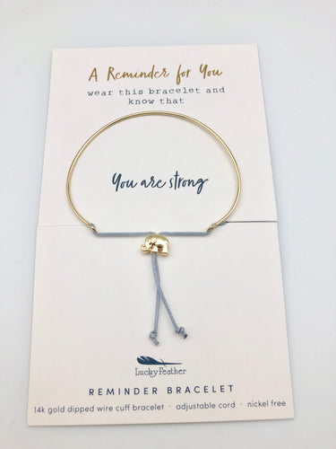 Lucky Feather Reminder Bracelet - You Are Strong