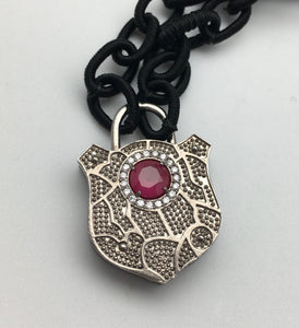 Bhakti Panda I Will Protect You Silver & White Topaz Filigree with Ruby Hamsa Lock on Silk Chain