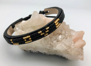 Love Is Project Adjustable Black & Gold Bead Skinny Love Bracelet