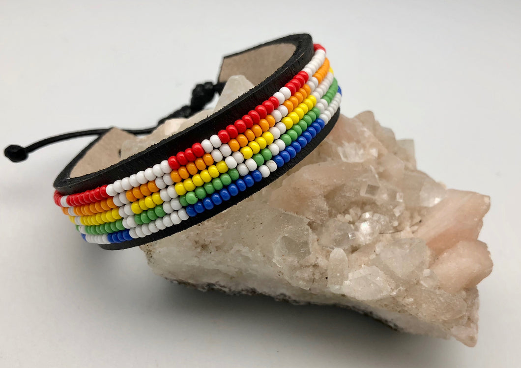 Love Is Project Adjustable Rainbow Pride Bead Love Bracelet