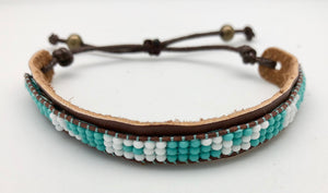 Love Is Project Adjustable Turquoise & White Bead Skinny Love Bracelet (Vegan)
