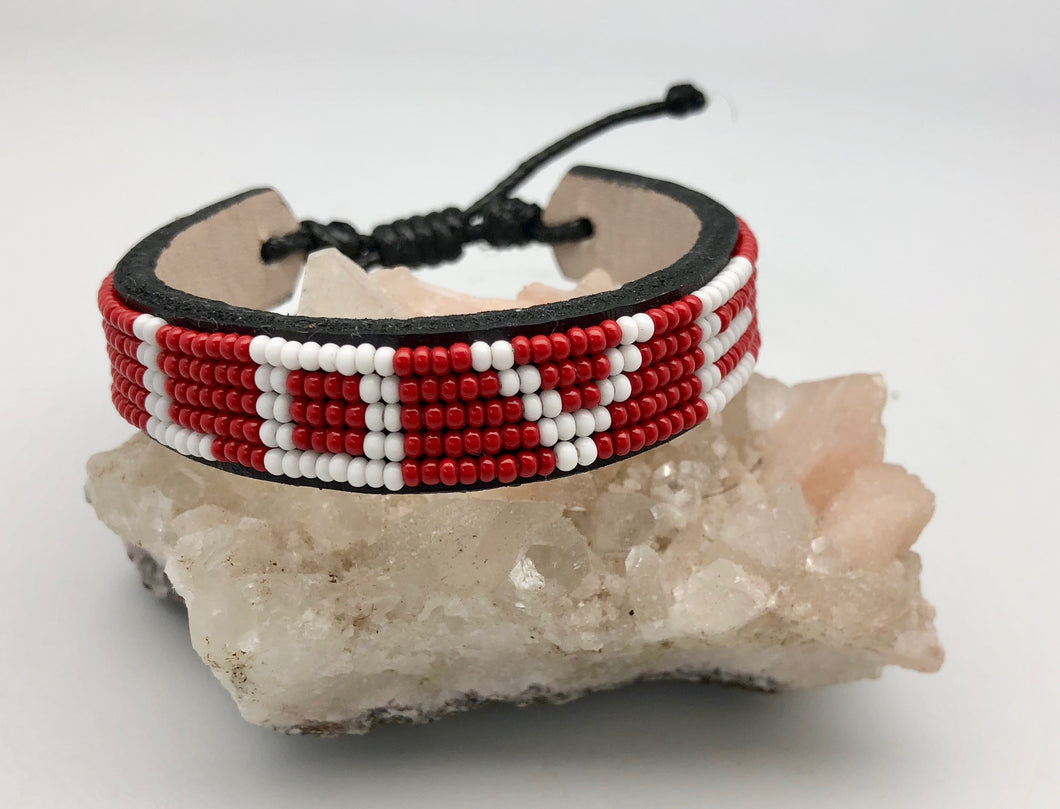 Love Is Project Original Adjustable Red & White Bead Love Bracelet