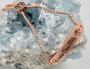 Adjustable Pink Gold Affirmation Chain Bracelet - Watch Over Me