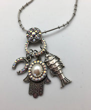Mariana Spirit of Design Silver Necklace with Hamsa, Fish and Horseshoe Charms