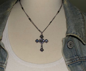 Mariana Spirit of Design Silver Cross Necklace with Swarovski Crystals