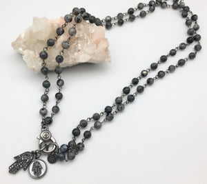 Marlyn Schiff Labradorite Charm Protection Necklace with Double Hematite Hamsa Charm