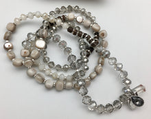 Marlyn Schiff Silver Crystal Charm Convertible Wrap Bracelet