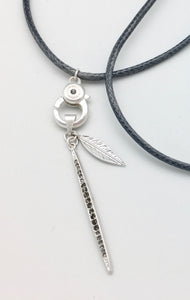 Marlyn Schiff Blue Snake Charm Catcher Necklace with Crystal and Silver Horn Charm