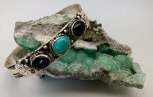 Nepali Vintage Silver Cuff Bracelet with Turquoise and Onyx Cabochon
