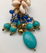 Lucky Turquoise Nugget Key Chain with Bells and Cowrie Shells