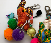 Lucky Elephant Key Chain with Bells and Pom Poms