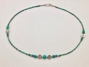 Nepali Serenity Turquoise & Silver Small Bead Necklace