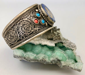 Modern Tibet Silver and Lapis Om Large Cuff Bracelet with Turquoise and Coral