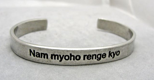 Whitney Howard Nam Myoho Renge Kyo Cuff Bracelet with Hidden Translation