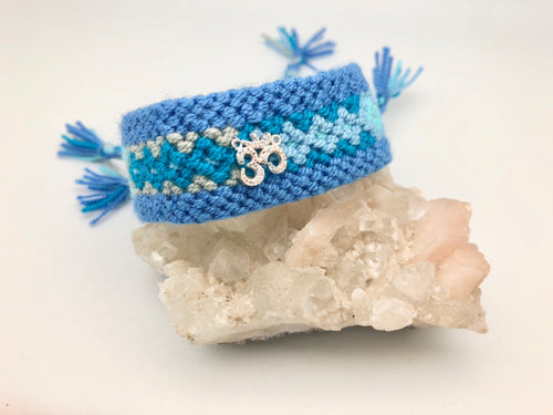 Forever Friends - Guatemalan Woven Cuff Bracelet with Om Charm