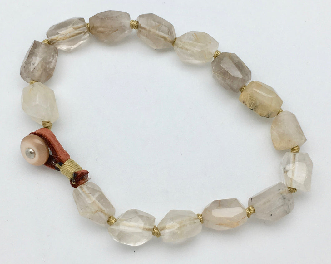 Peyote Bird Faceted Smokey Quartz Bracelet
