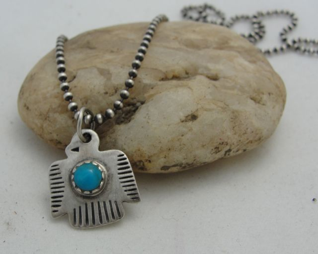 Peyote Bird Silver and Turquoise Magic Thunderbird Necklace