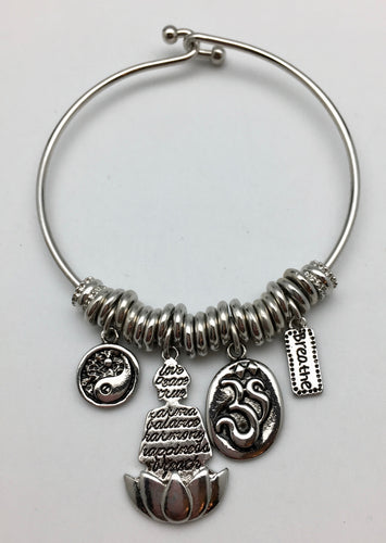 Harmony, Happiness & Tranquility Silver Charm Bangle Bracelet