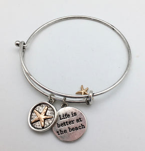 Life is Better at the Beach Starfish Charm Bangle Bracelet