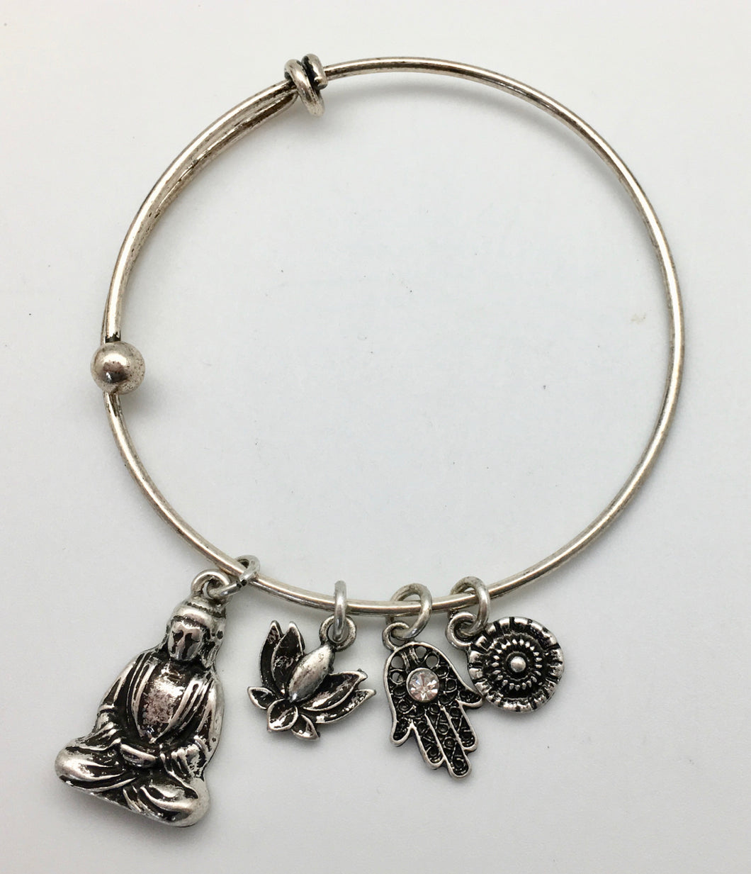 Spiritual Charm Bangle Bracelet - Buddha, Hamsa and Lotus