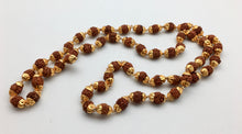 Gold Capped Nepali Rudraksha 54 Bead Mala Necklace