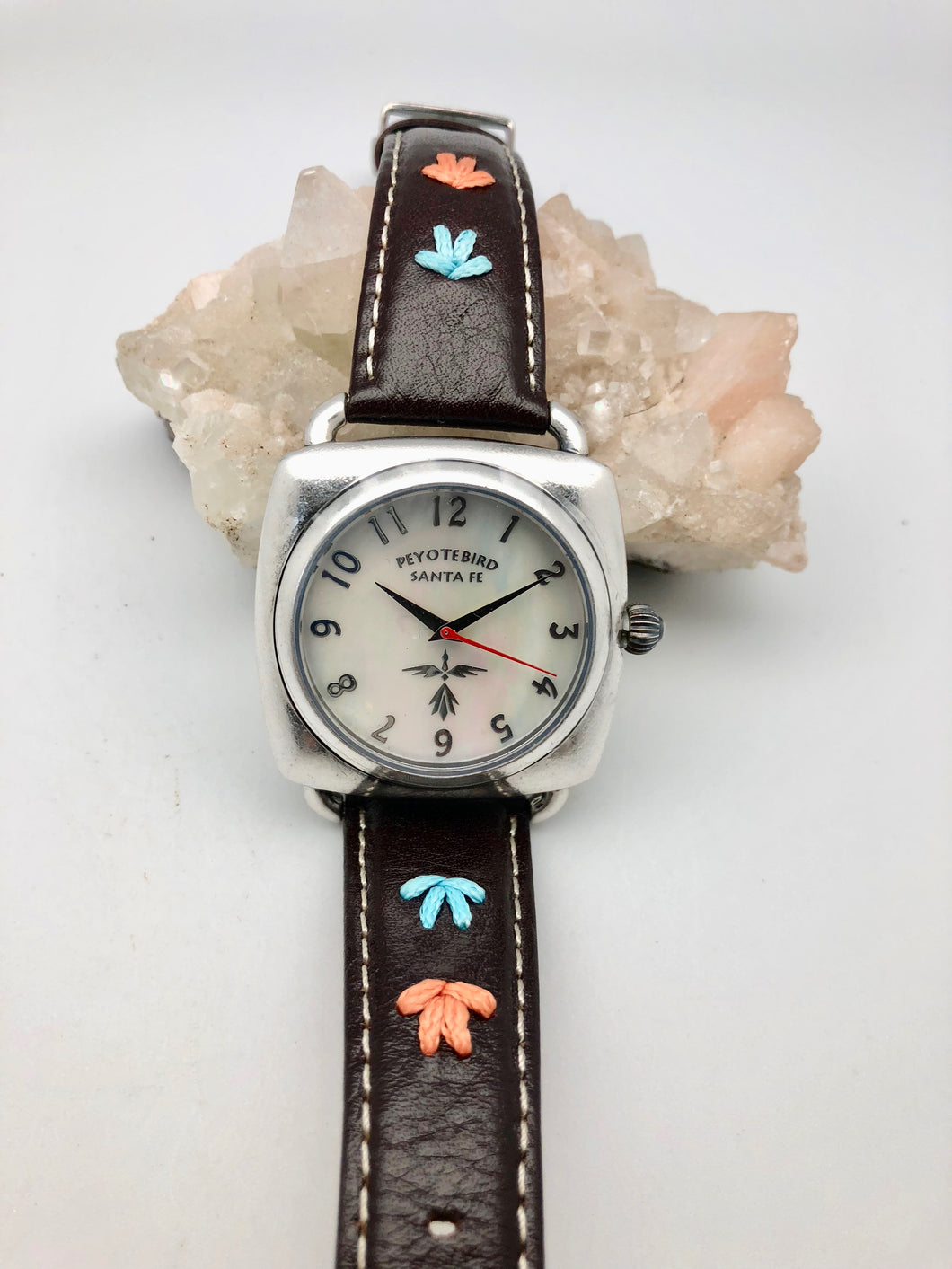 Peyote Bird Abalone Face Watch with Brown Overstitched Leather Band