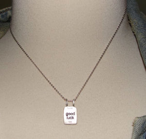 Sterling Silver Chinese Character Good Luck Necklace